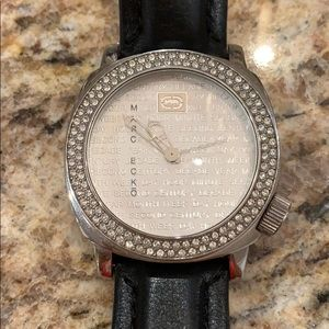 Marc Ecko leather with crystal watch